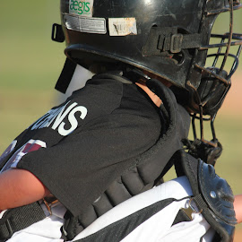 Catcher's Gear by Leah Hartley - Novices Only Sports ( catcher, baseball, boys, sports, summer, little, kids, league, KidsOfSummer )