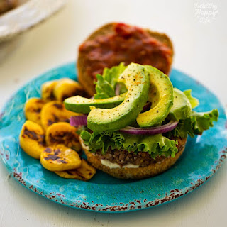 Black Bean Plantain Veggie Burgers with Avocado