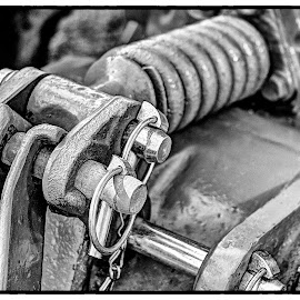 tractor engine by Lorraine Robins - Transportation Other ( hdr, vintage, engine, black and white, tractor,  )
