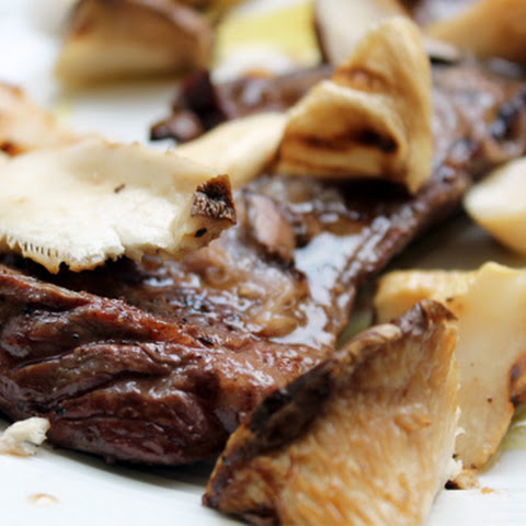 Grilled Skirt Steak with Malbec Butter and Royal Trumpet Mushrooms