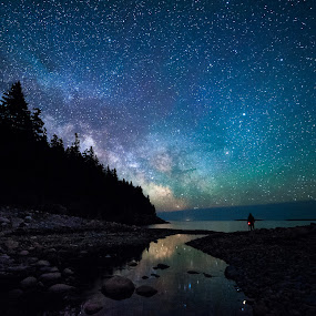 Milky Way over Hunter's Head by Aaron Priest - Landscapes Starscapes ( hunter's beach, workshop, hunter's brook, mount desert island, maine, meteor, ocean, coast, milky way, night photography, acadia national park, stars, night, longexposure, night sky )
