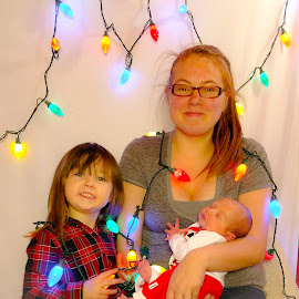 Christmas family by Jennifer Duffany - People Family ( christmas family boy girl baby toddler mom lights holiday holidays )