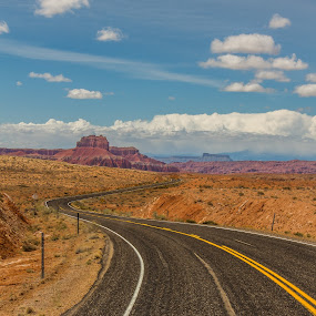 Winding Desert Road by Dallas Golden - Landscapes Deserts ( clouds, mountain, desert, utah, road )