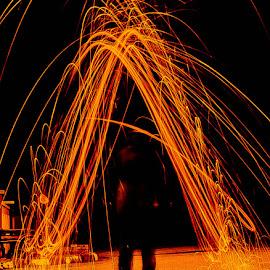 Fiery A by B.Thinesh Kumar - Typography Single Letters ( words, steel wool, firework, fire art )