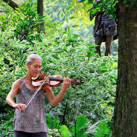 NYC's Central Park  Park on a Sunday Morning by Tricia Scott - City,  Street & Park  Street Scenes ( music, playing lady, park, path, central park, violinist )