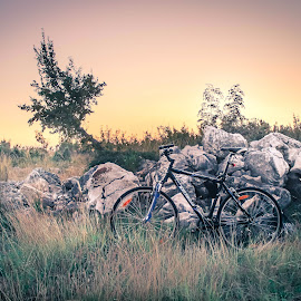 Mountain Biking by Zeljko Tomic - Transportation Bicycles ( hill, bike, sunset, rocks, moountain )