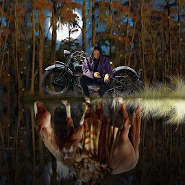 Native Reflections by Charlie Alolkoy - Illustration People ( moon, reflection, stars, wetland, aboriginal, horse, motorcycle, night, forest, firefly, native american )