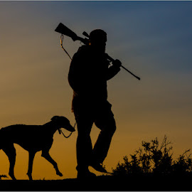 Two hunters by Niel Goslett - Novices Only Portraits & People ( sunset, hunting, rifle, dog, human )