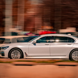 BMW 7 Series Panning by Ovidiu Bujor - Transportation Automobiles ( car, panning, speed, automobile, vehicle, white, sport, fast )