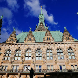municipal building and the blue sky by Nele Hölzer - Buildings & Architecture Public & Historical ( clouds, building, sky, shadow, hamburg )