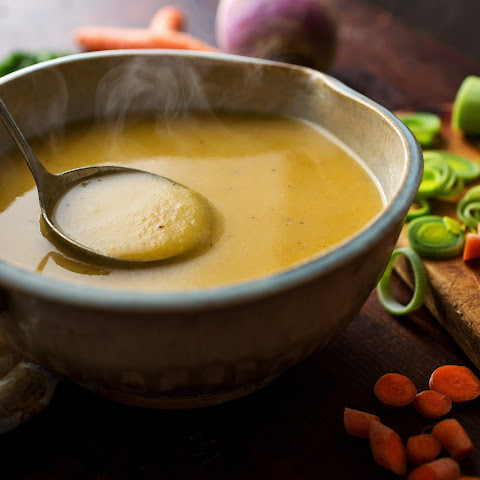 Winter Vegetable Soup With Turnips, Carrots, Potatoes and Leeks