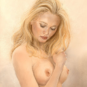 La Rubia by Margaret Merry - Painting All Painting ( pastel, figure study, girl, nude, female, woman, naked, art, painting, print, drawing, figurative art )