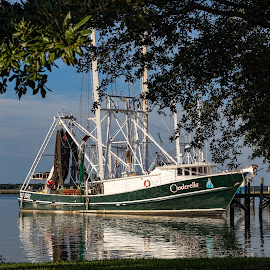 Cinderella  by Shutter Bay Photography - Transportation Boats ( waterscape, shrimp boat, boats, work boat, landscape )