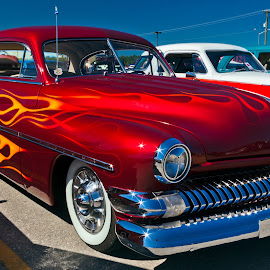 Flames by Dave Lipchen - Transportation Automobiles ( car, flames, candy apple red, street photography )