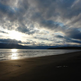 Sunrise over Dalvik beach by Ros Dando - Landscapes Beaches