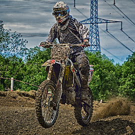 The Race ! by Marco Bertamé - Sports & Fitness Motorsports ( duist, mud, motocross, speed, clumps, race, alone, accelerating, competition )