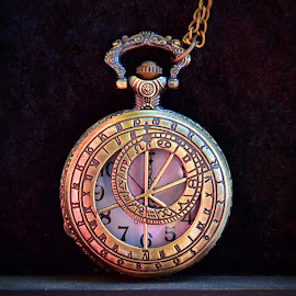 Pocket Watch by Marco Bertamé - Artistic Objects Other Objects ( pocket watch, chain, number, steampunk, golden )