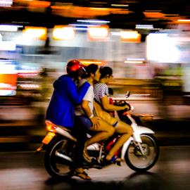 Night riders. by Jamaluddin Abdul Jalil - City,  Street & Park  Street Scenes ( girls, splash, drizzle, hat yai, thailand, glow, city, bike, lighting, color, riding, neon, three, night, mood factory, moods, colorful, light, bulbs, mood-lites )