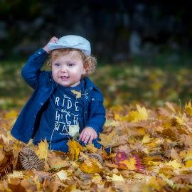 Autumn fun by Nick-Nikola Mraovic - Babies & Children Child Portraits ( autumn, fall, croatia, yellow, leaves )