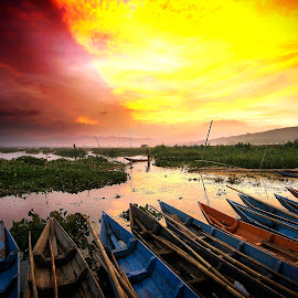 Sunset At Sumurup by Muhammad Yoserizal - Transportation Boats