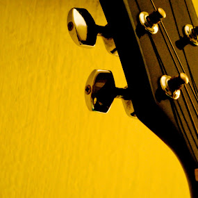 ♪ ♫ ♫ by Moin Ally - Artistic Objects Other Objects ( 18mm-55mm, music, neck, chrome, strings, yellow, pegs, dhaka, d3000, bangladesh, guitar, nikon, black, 18-55 )