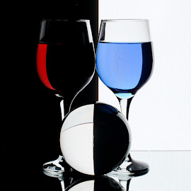 Half and Half by Sam Sampson - Artistic Objects Glass ( reflection, ball, red, glasses, blue )