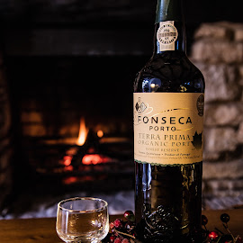 Warming by the fire by Elise Northfield - Food & Drink Alcohol & Drinks ( wine, festive, warm, wood, alcohol, grape, drink, glass, bottle, evening, biscuit, fire )