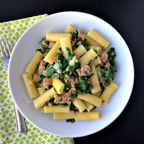 Spicy Sausage and Spinach Rigatoni