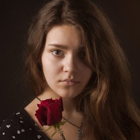 *** by Valentyn Kolesnyk - People Portraits of Women ( look, rose, woman, portrait )