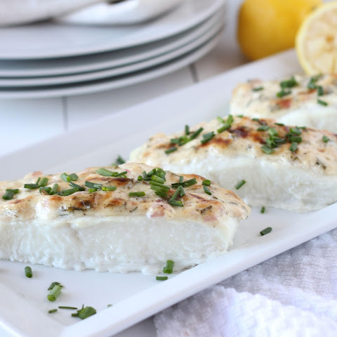 Baked Halibut with Herbed Mayonnaise Crust