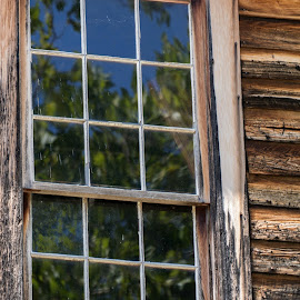 Batsto Village sawmill window by Judy Florio - Buildings & Architecture Statues & Monuments ( old, reflection, wood, window, pine barrens )