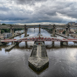 Newcastle's Bridges by Adam Lang - Buildings & Architecture Bridges & Suspended Structures ( sky, river tyne, high level bridge, gateshead, newcastle, swing bridge )