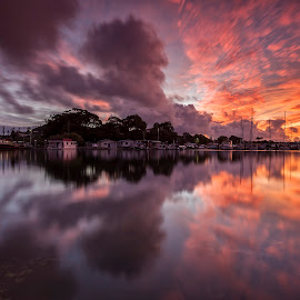 Tweed River Sunset by Steve Badger - Landscapes Sunsets & Sunrises ( reflection, tweed river, sunset, australia, tweed heads )