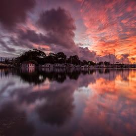 Tweed River Sunset by Steve Badger - Landscapes Sunsets & Sunrises ( reflection, tweed river, sunset, australia, tweed heads )