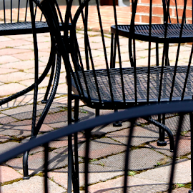 At the vineyard by Leah Zisserson - Artistic Objects Furniture ( vineyard, metal, chairs, brick, patio,  )