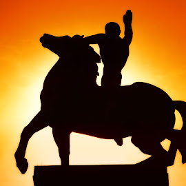 Olympic Sunset ! by Marco Bertamé - Buildings & Architecture Statues & Monuments ( backlight, riding, sunset, silhouette, horse, monument, barcelona, man )
