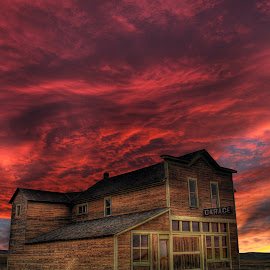 Cloverland Garage by Eric Demattos - Buildings & Architecture Decaying & Abandoned ( red clouds, eric demattos, sunset, garage, cloverland, ghost town )