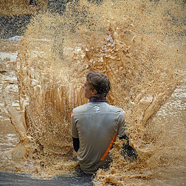 Sliding Impact by Marco Bertamé - Sports & Fitness Other Sports ( water, muddy, sliding, splatter, splash, differdange, 2015, brown, soup, strongmanrun, man, luxembourg )