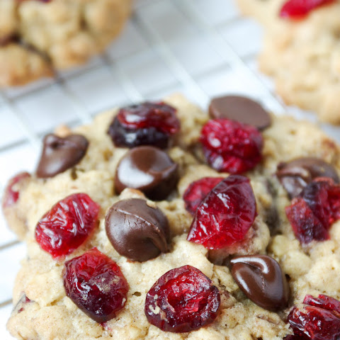 Chewy Oatmeal Cookies with Cranberries, Chocolate Chips and Pecans