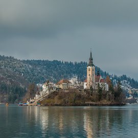 by Mario Horvat - City,  Street & Park  Vistas ( water, church, bled, lake, architecture, boat, island )