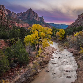 Watchman by Brent Huntley - Landscapes Mountains & Hills ( xt1, hdr, watchman, 2 image panorama, travel, landscape, zion, photography, national park, southern, utah, autumn, foliage, x shooter, sunset, fall, southwest, fuji, 3 exposures, 6 images, virgin, river )
