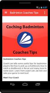 Badminton Coaches Tips - screenshot