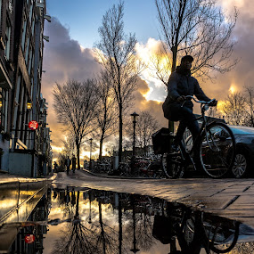 Amsterdam sunset by Adam Lang - City,  Street & Park  Street Scenes ( reflection, bike, sunset, street, amsterdam, netherlands,  )