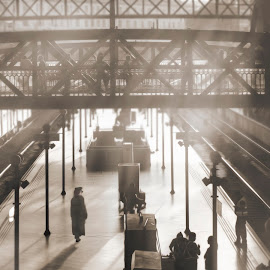 Anastasia's Departure by Joshua Clifford - Digital Art Places ( cosplay, foggy, railroad, lamps, steampunk, lamp post, inside, people, tracks, platform, light, station, bridge, train, dusty, story )