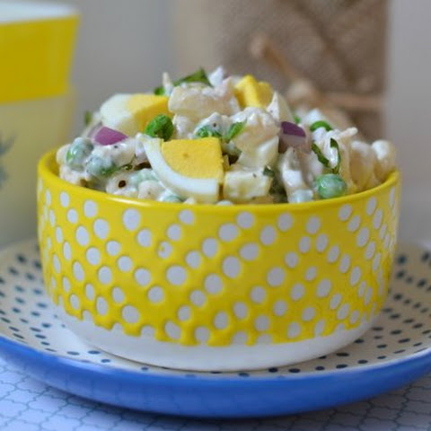 Basil, Chicken and Hard Boiled Egg Macaroni Salad