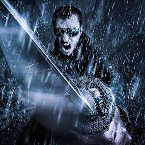 Neo Samurai by Derek Kind - Digital Art People ( rainy, fight, matrix, swords, japanese, fighter, man, rain, swordsman, sword, katana )