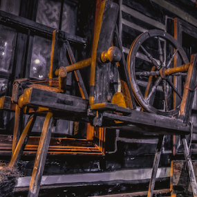 Old romanian machinery processed wool by Opreanu Roberto Sorin - Artistic Objects Antiques ( sopinel, up close, old, machinery, wood, romanian, romania, close up, sorin, color, processing, opreanu, light, wool, abandoned,  )