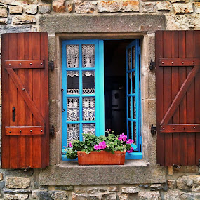 Window by Dobrin Anca - Buildings & Architecture Architectural Detail ( window, blue, street, brittany, flower,  )