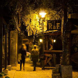 Walking at bar alley near Čuburski Park by Pantelis Orfanos - City,  Street & Park  Night ( night light, walking, belgrade, street, night, cuburski park, alley )