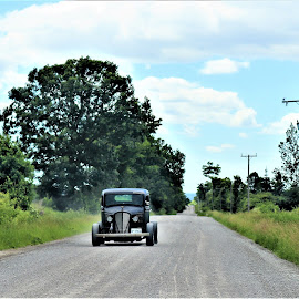 Just motoring along on  a country road  by Linda    L Tatler - Transportation Automobiles